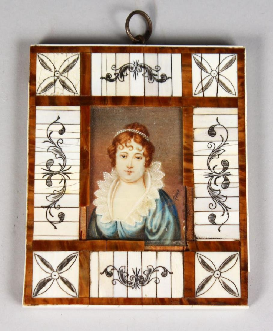 A MINIATURE OF A LADY.  Signed Rene.  3.5ins x 2.5ins,