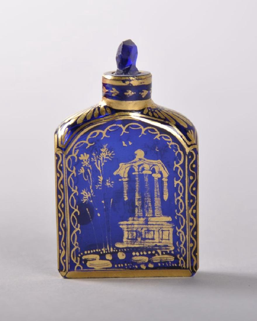 A GOOD SMALL 18TH CENTURY ENGLISH COBALT BLUE PERFUME