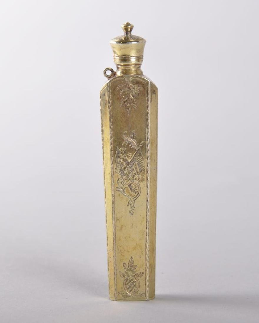 A GOOD 19TH CENTURY FRENCH SILVER  GILT ENAMEL PERFUME
