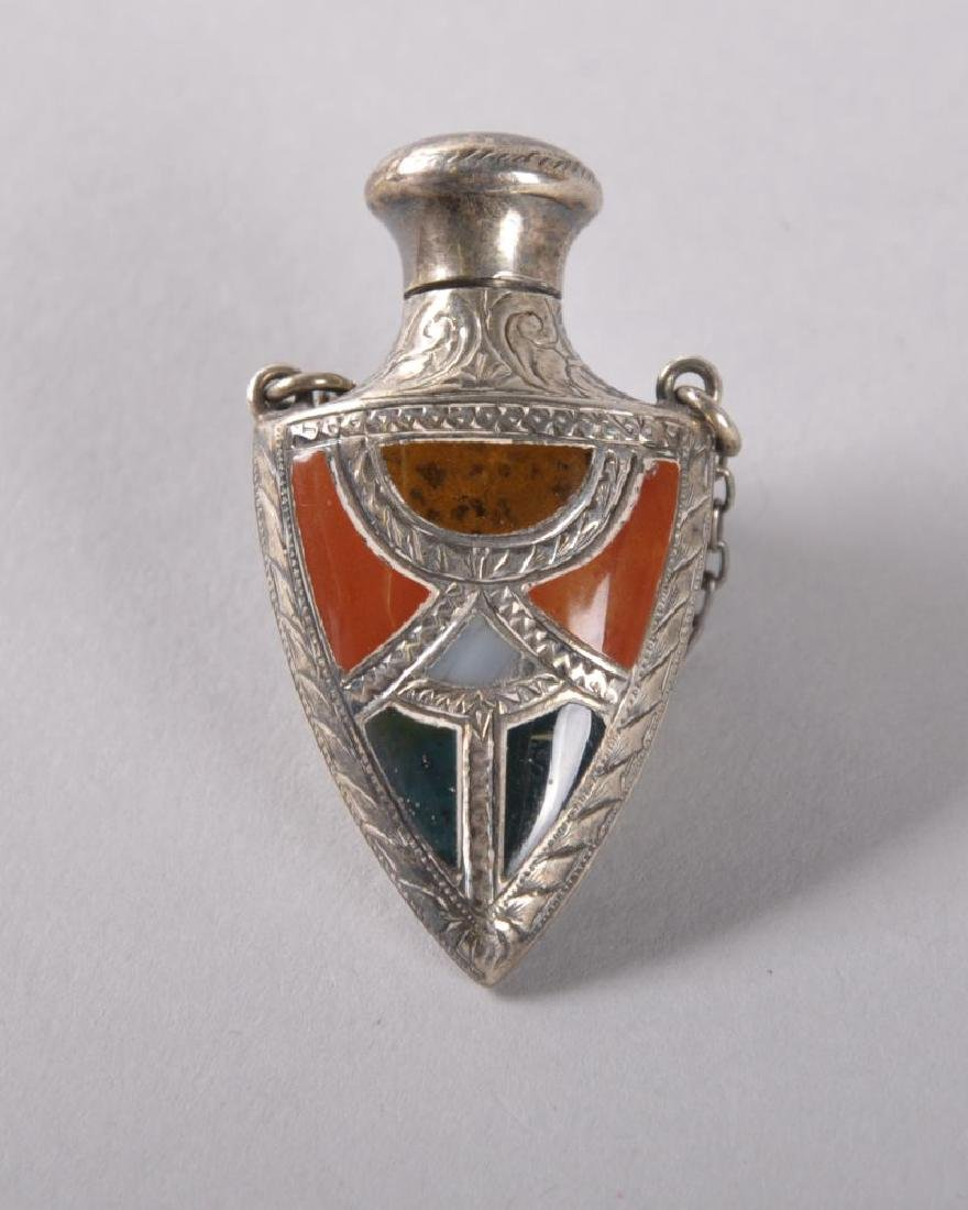 A VICTORIAN SCOTTISH SILVER AND PEBBLE SHAPED PERFUME