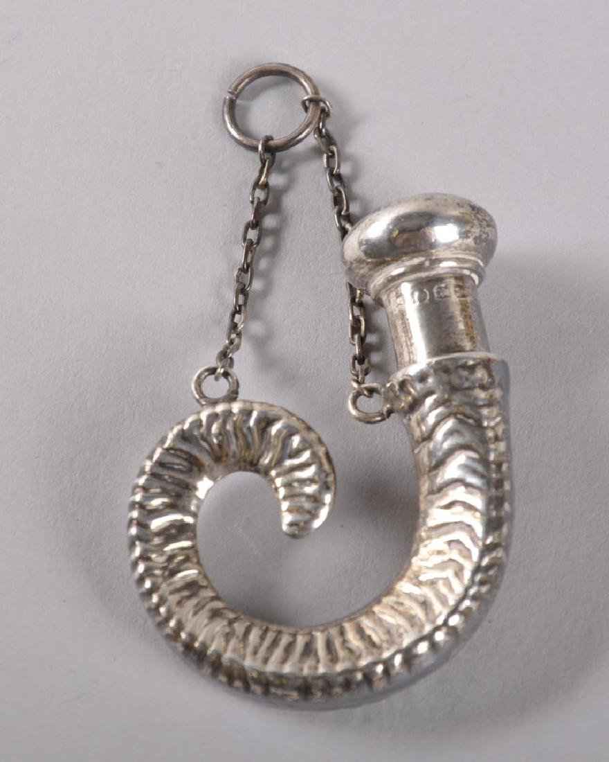 A VICTORIAN SILVER RAMS HORN SHAPED SCENT BOTTLE with