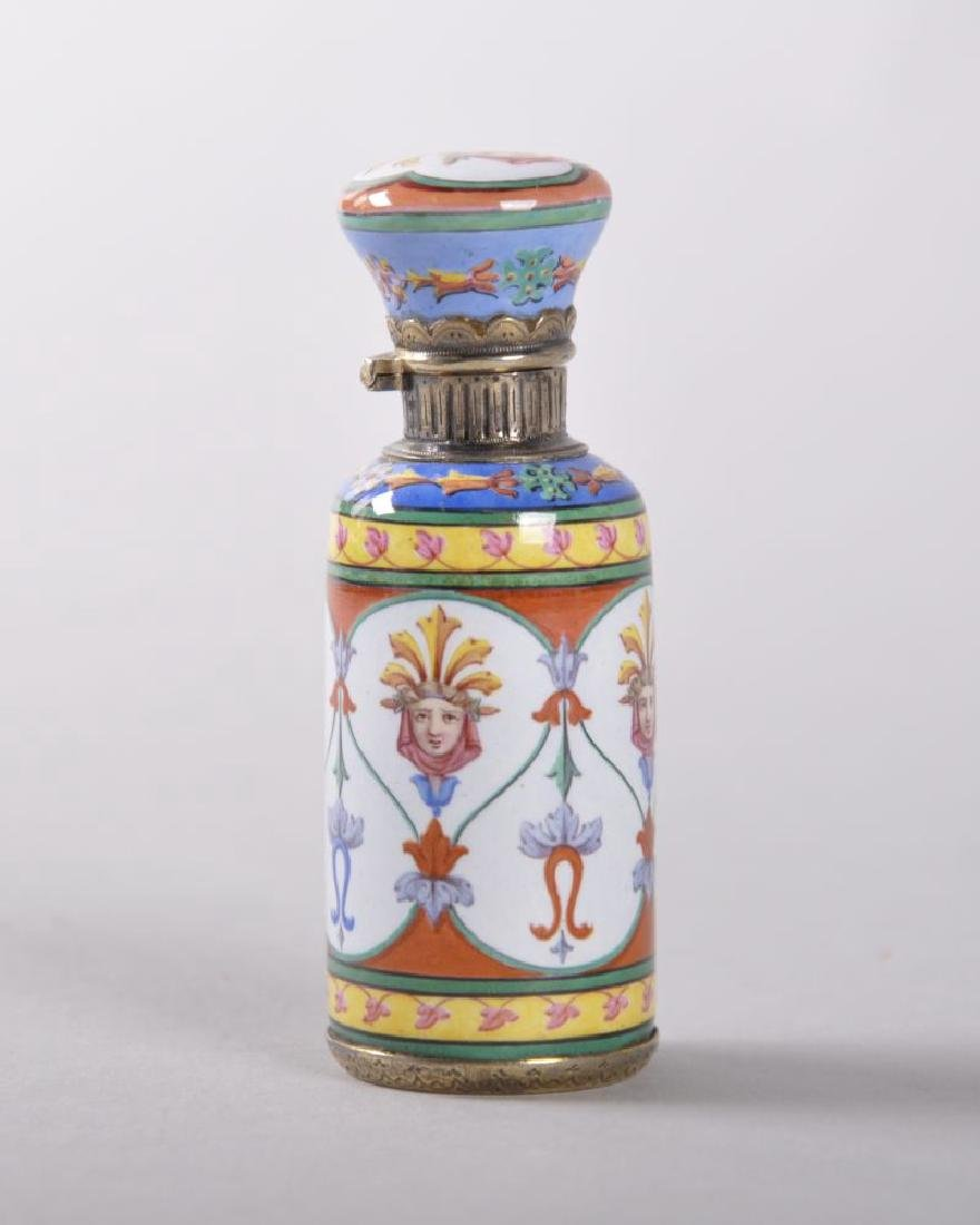 A GOOD FRENCH EMPIRE ENAMEL PERFUME BOTTLE AND STOPPER,