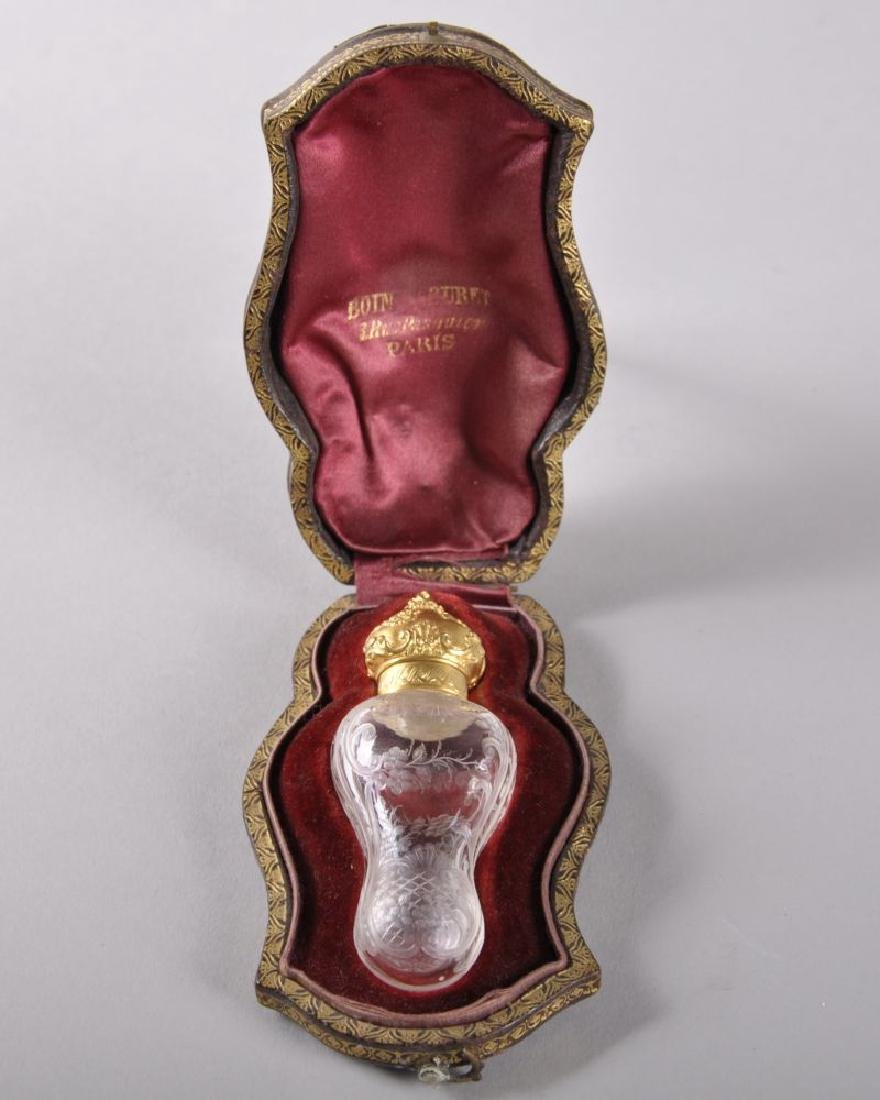 A VERY GOOD 19TH CENTURY FRENCH ENGRAVED GLASS SHAPED