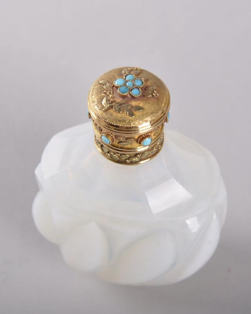 A GOOD 19TH CENTURY FRENCH OPALINE WHEEL TURNED PERFUME - 2
