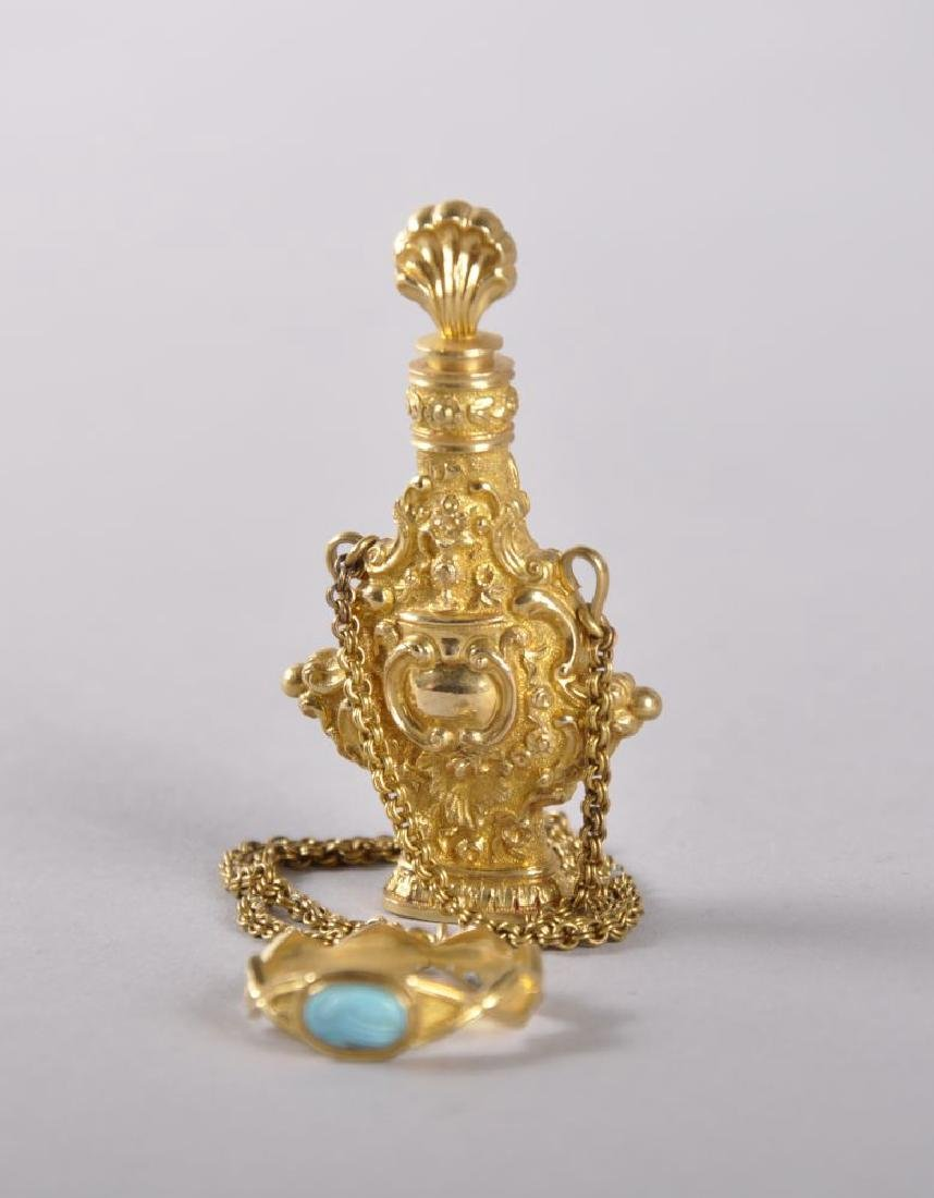A SUPERB 18TH CENTURY GOLD PERFUME BOTTLE, stopper,