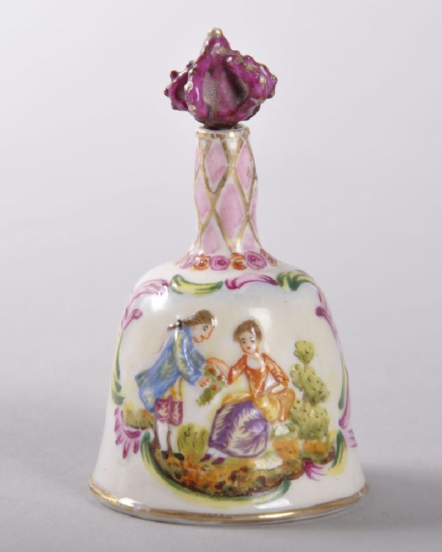 A 19TH CENTURY CAPO-DI-MONTE PORCELAIN PERFUME BELL