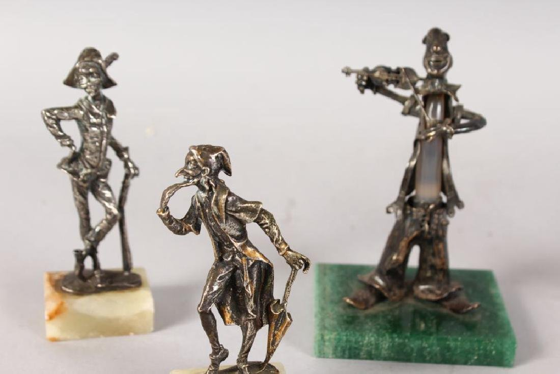 FIVE CONTINENTAL SILVER MUSICIANS ETC on marble bases. - 2
