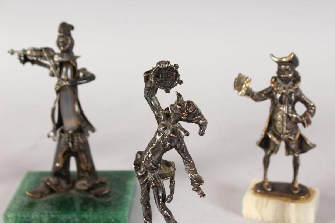 FIVE CONTINENTAL SILVER MUSICIANS ETC on marble bases. - 3