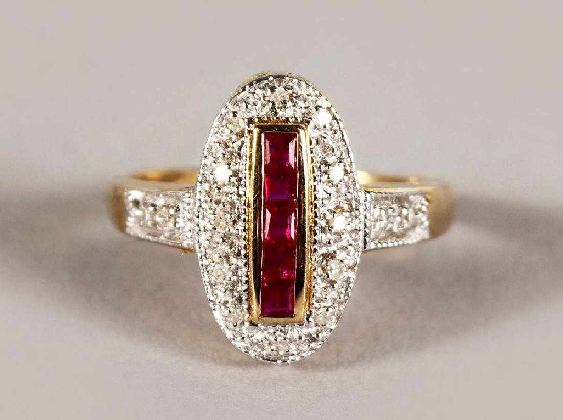 A 9CT GOLD, CALIBRE CUT RUBY AND DIAMOND DECO TYPE