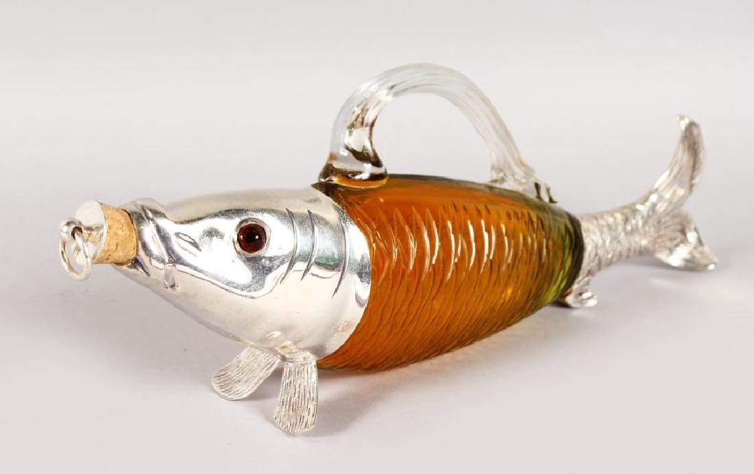A PLATED AND AMBER COLOURED GLASS NOVELTY DECANTER,