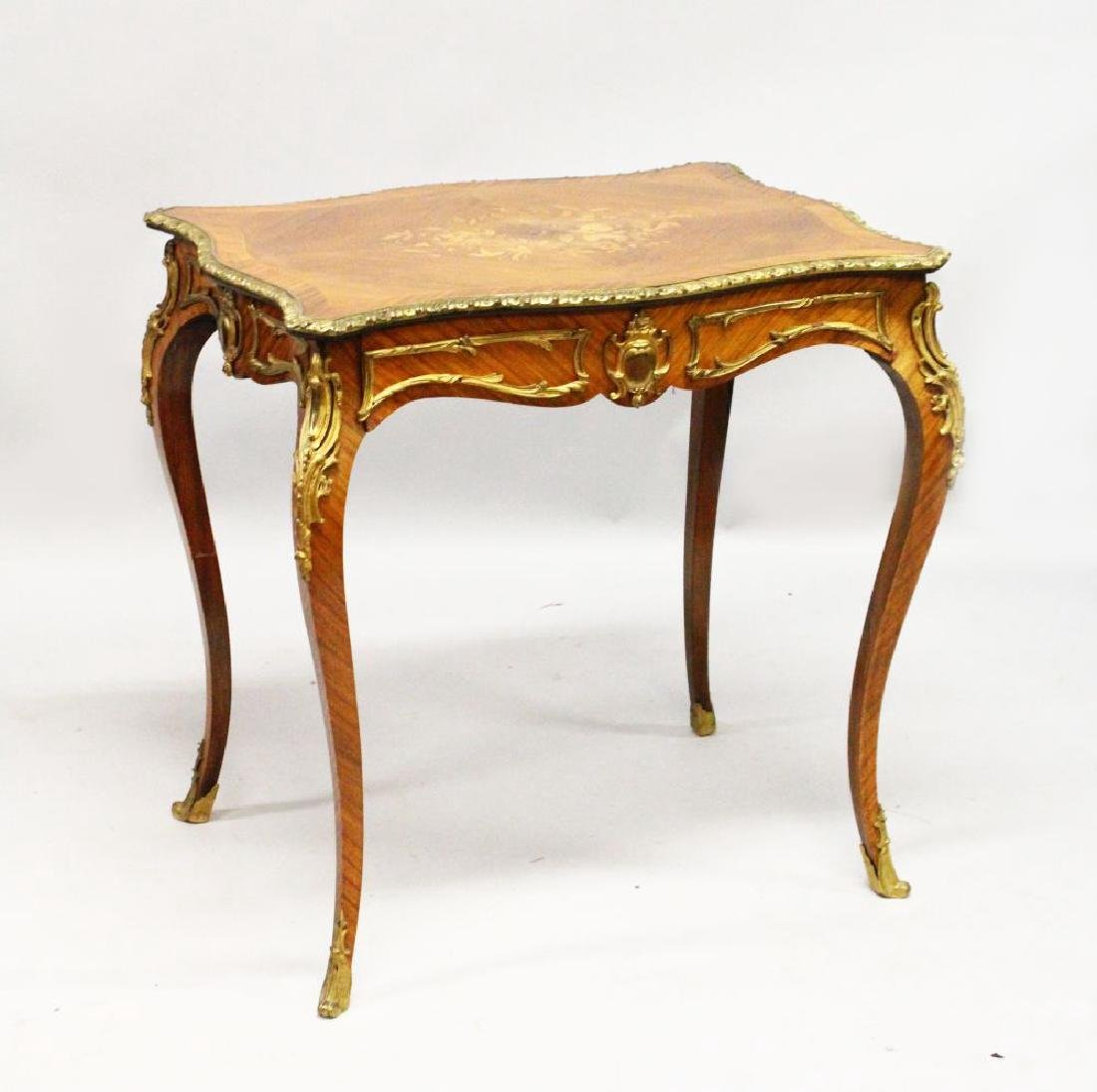 A FRENCH KINGWOOD, ORMOLU AND MARQUETRY SIDE TABLE, the