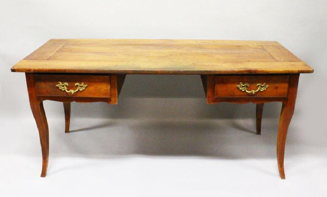 AN 18TH CENTURY FRENCH CHERRY WOOD RECTANGULAR TOP