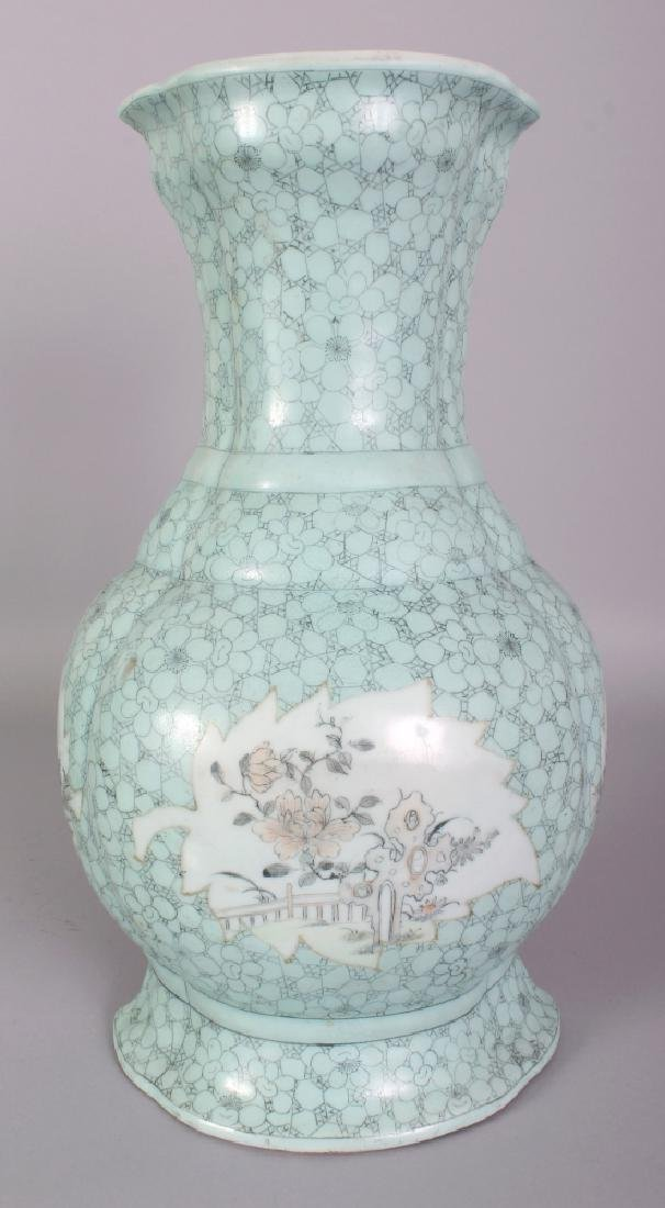 A GOOD LARGE 19TH CENTURY CHINESE TURQUOISE GROUND WALL