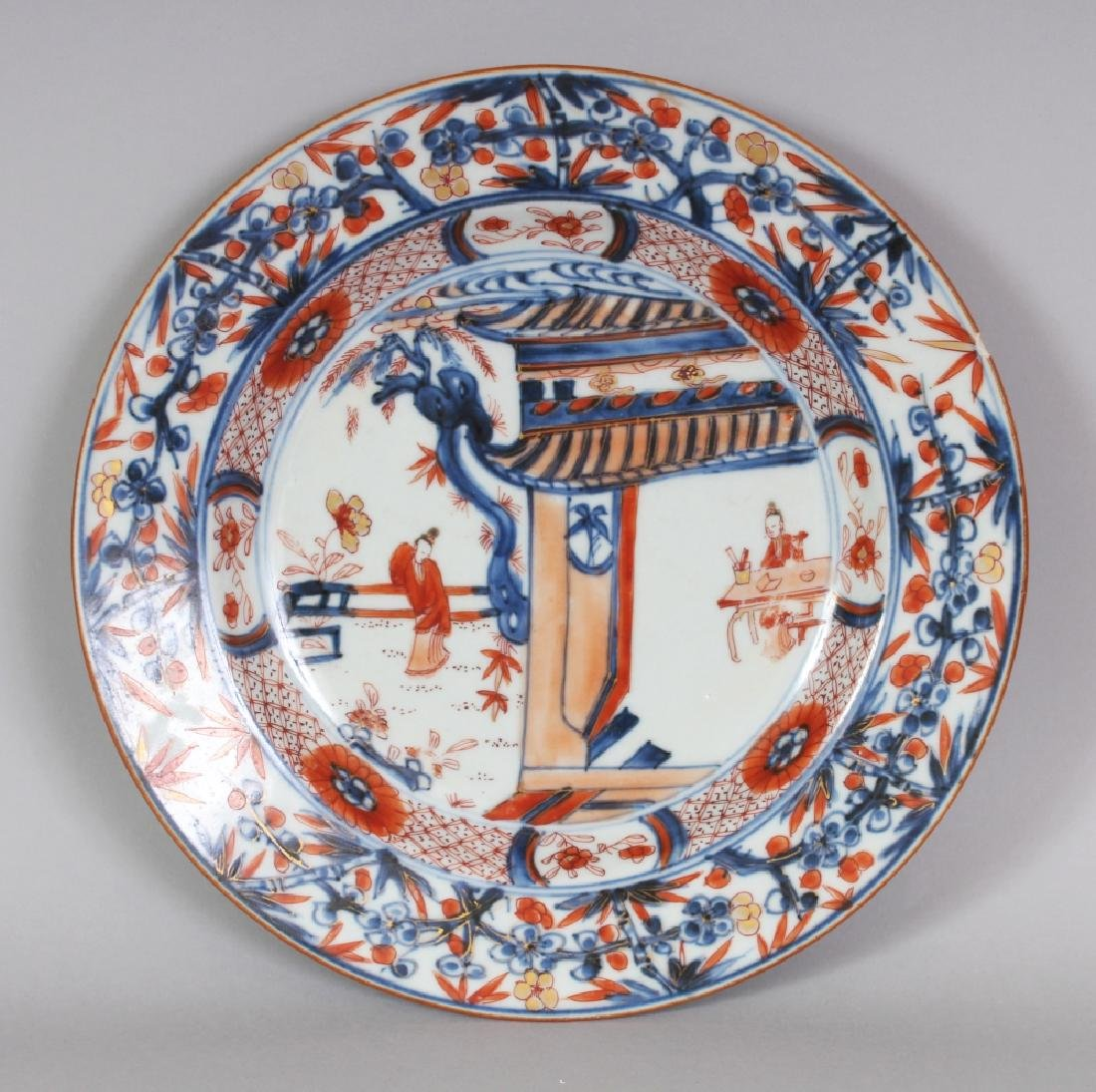 AN EARLY 18TH CENTURY CHINESE IMARI TERRACE SCENE