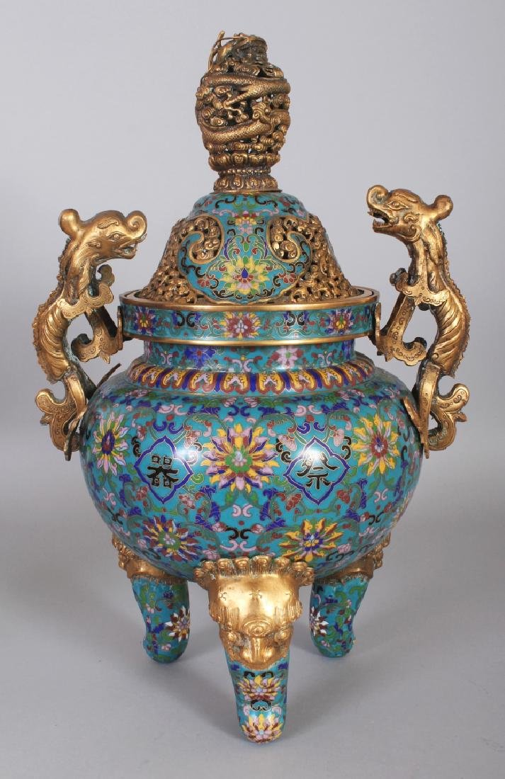 A LARGE GOOD QUALITY CHINESE CLOISONNE & GILT METAL