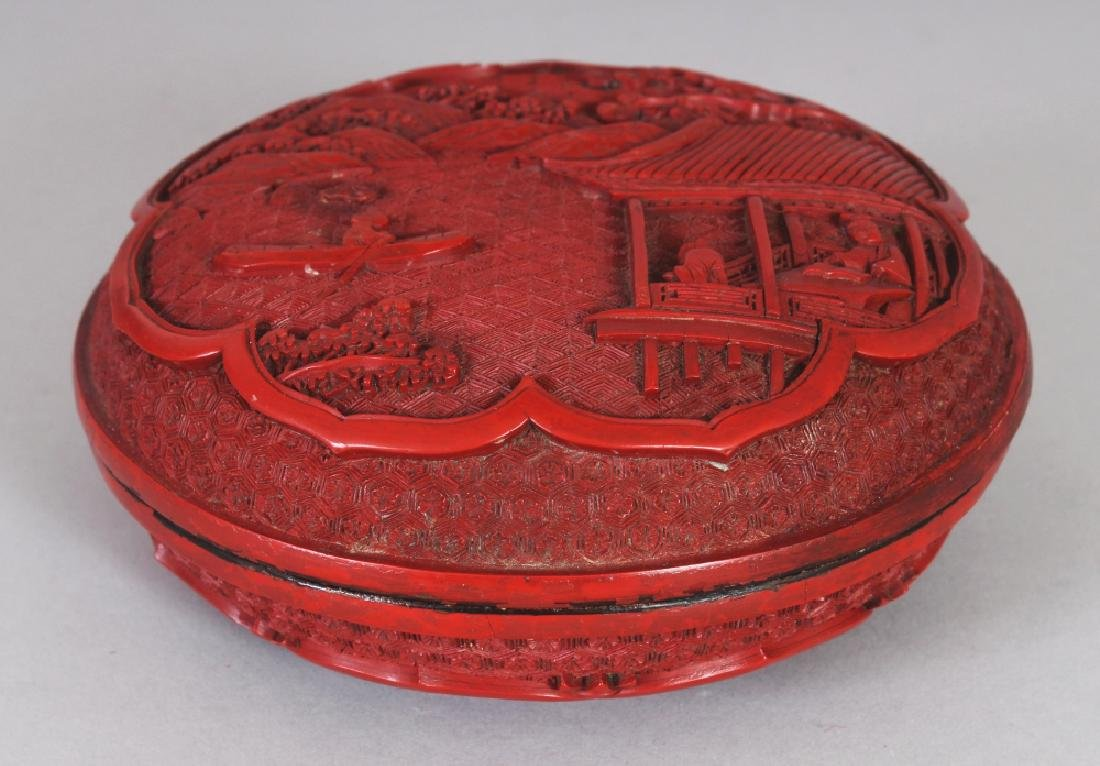 A GOOD QUALITY 19TH/20TH CENTURY CHINESE RED CINNABAR