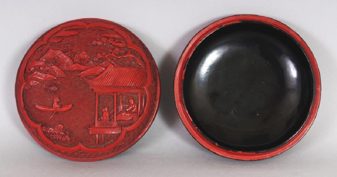 A GOOD QUALITY 19TH/20TH CENTURY CHINESE RED CINNABAR - 3