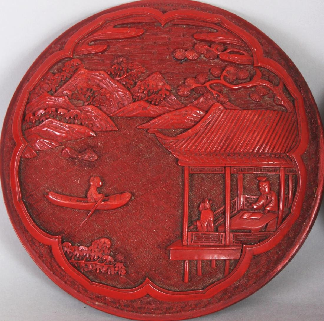 A GOOD QUALITY 19TH/20TH CENTURY CHINESE RED CINNABAR - 4