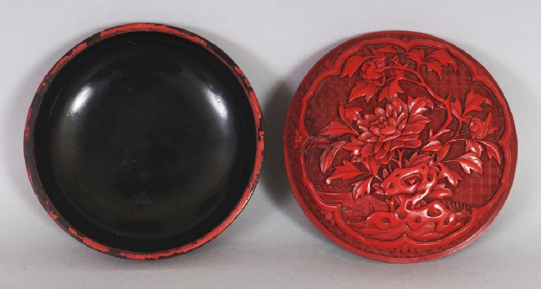 A GOOD QUALITY 19TH/20TH CENTURY CHINESE RED CINNABAR - 5