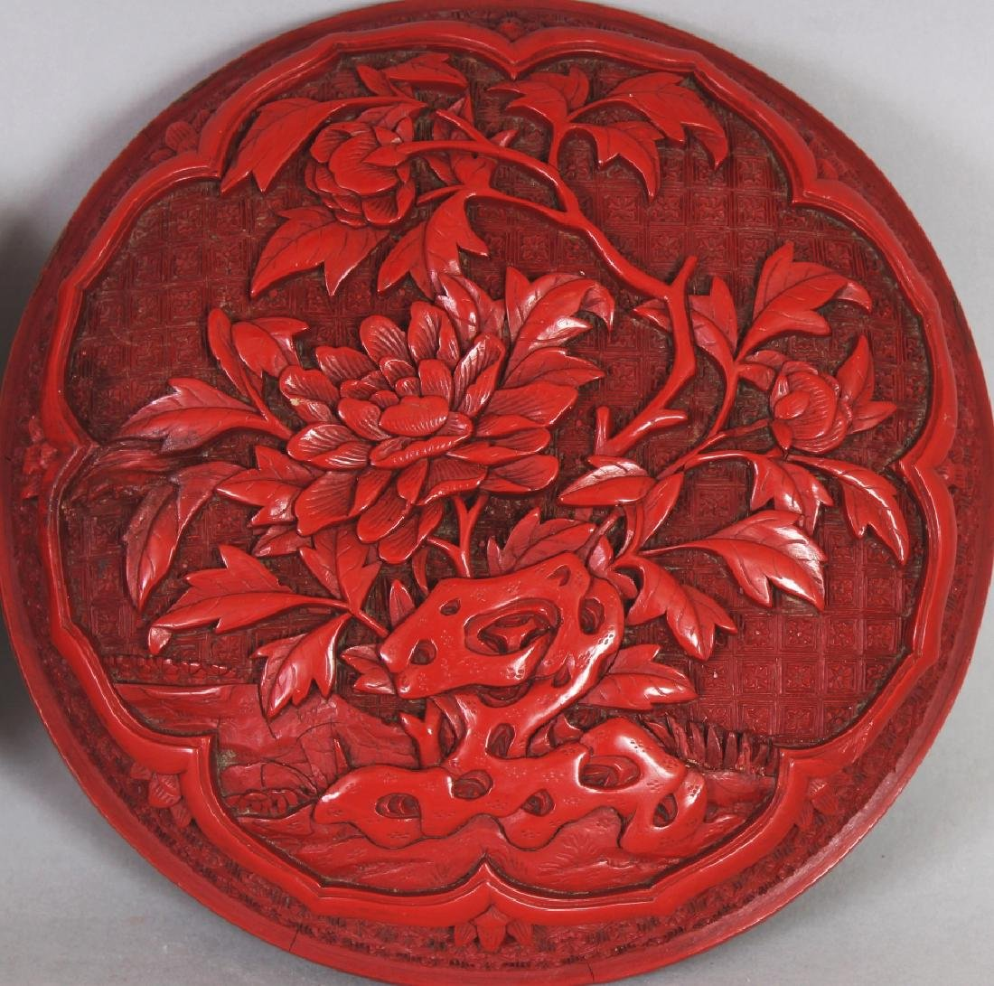 A GOOD QUALITY 19TH/20TH CENTURY CHINESE RED CINNABAR - 6
