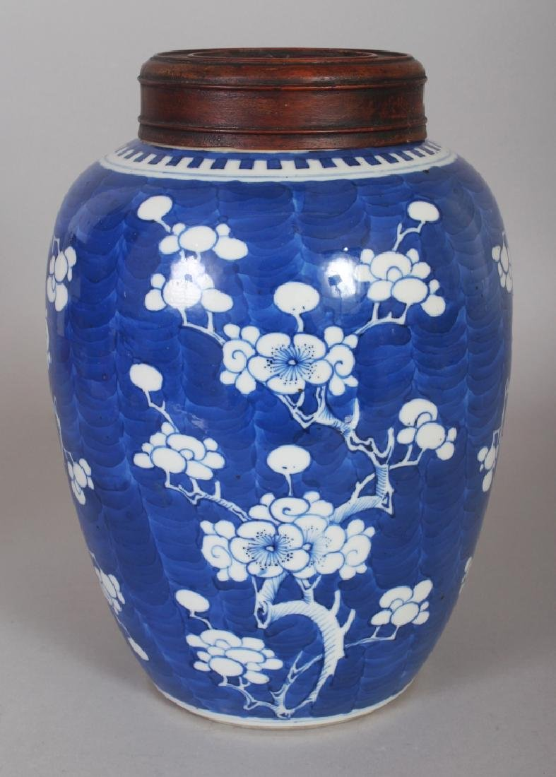 A 19TH CENTURY CHINESE BLUE & WHITE PORCELAIN PRUNUS