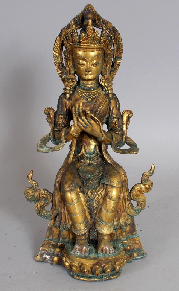 A GOOD QUALITY SINO-TIBETAN BRONZE FIGURE OF AMITAYUS