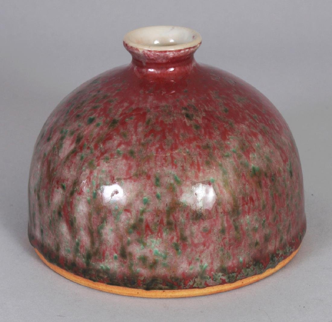 A CHINESE PEACH BLOOM PORCELAIN BEEHIVE WATER POT, the