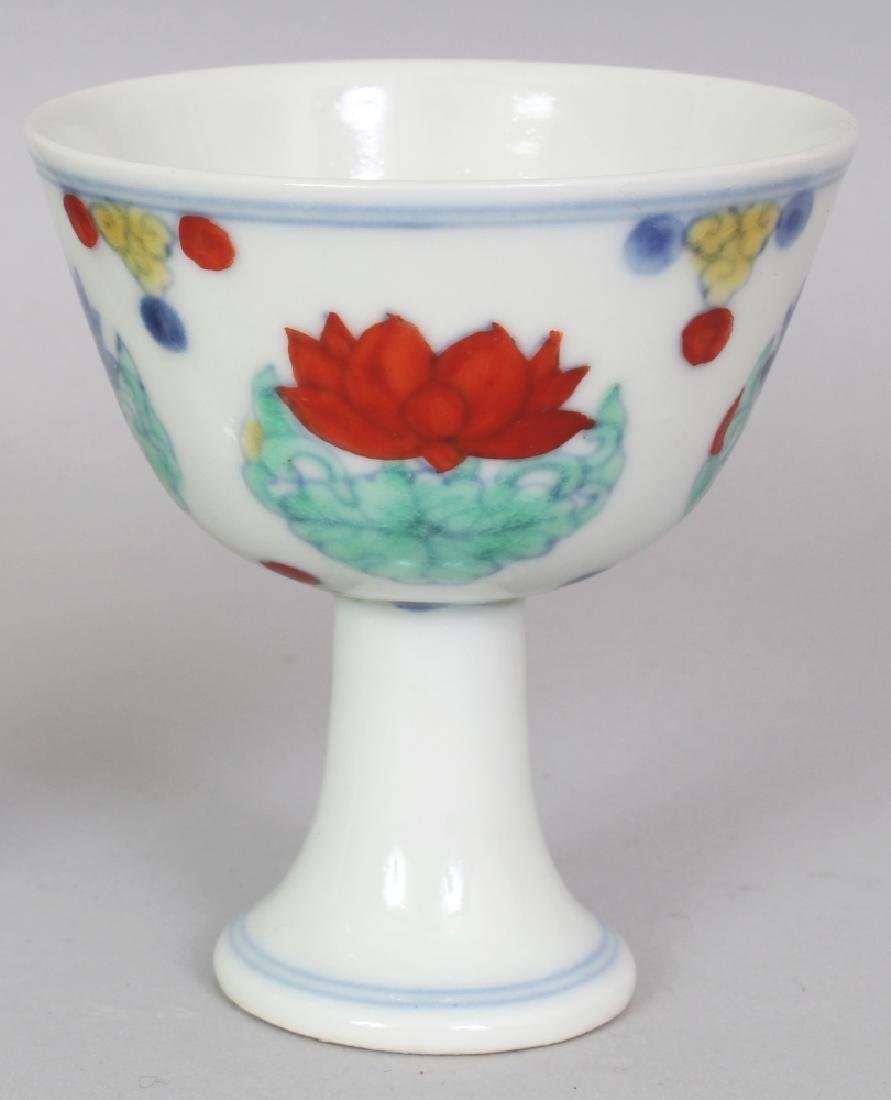 A CHINESE MING STYLE DOUCAI PORCELAIN STEM CUP, the