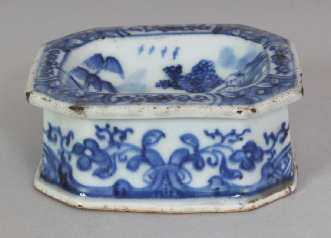 A CHINESE QIANLONG PERIOD BLUE & WHITE PORCELAIN SALT,