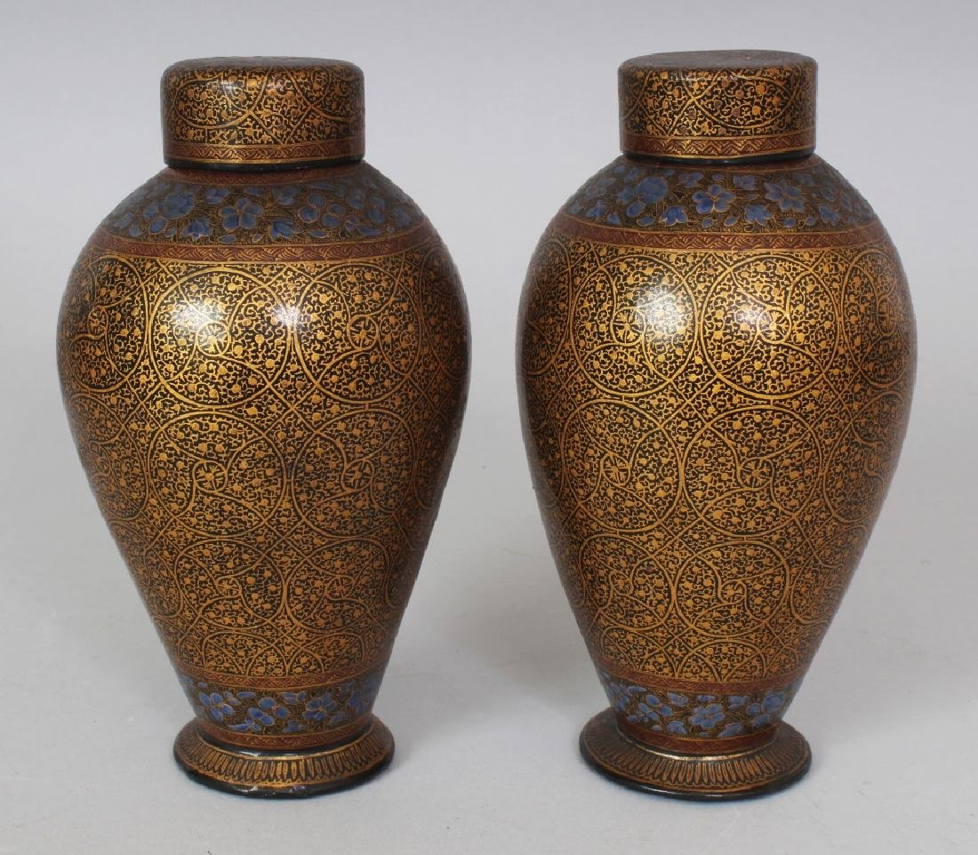 A PAIR OF 19TH/20TH CENTURY KASHMIRI LACQUER VASES &