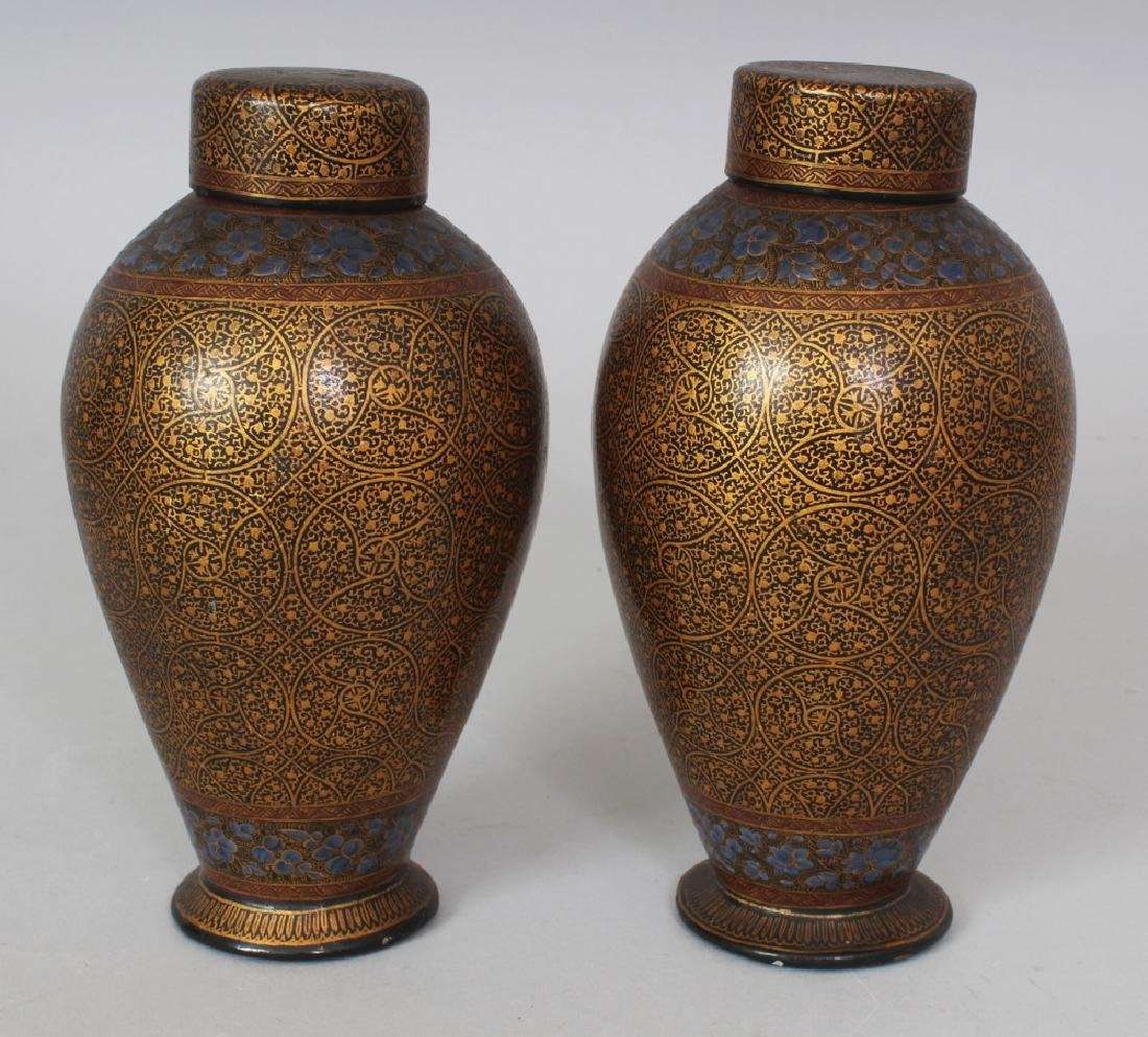 A PAIR OF 19TH/20TH CENTURY KASHMIRI LACQUER VASES & - 2