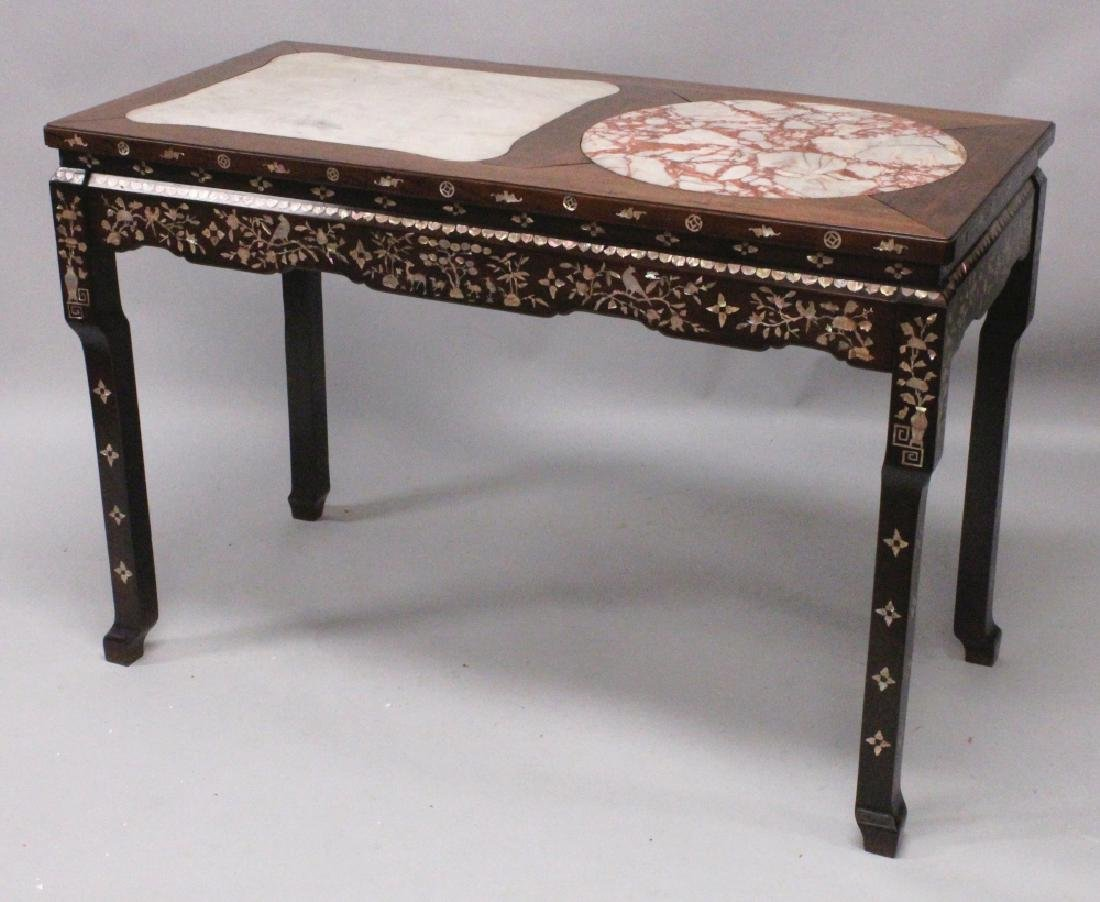 A GOOD LARGE 19TH/20TH CENTURY CHINESE MARBLE TOP