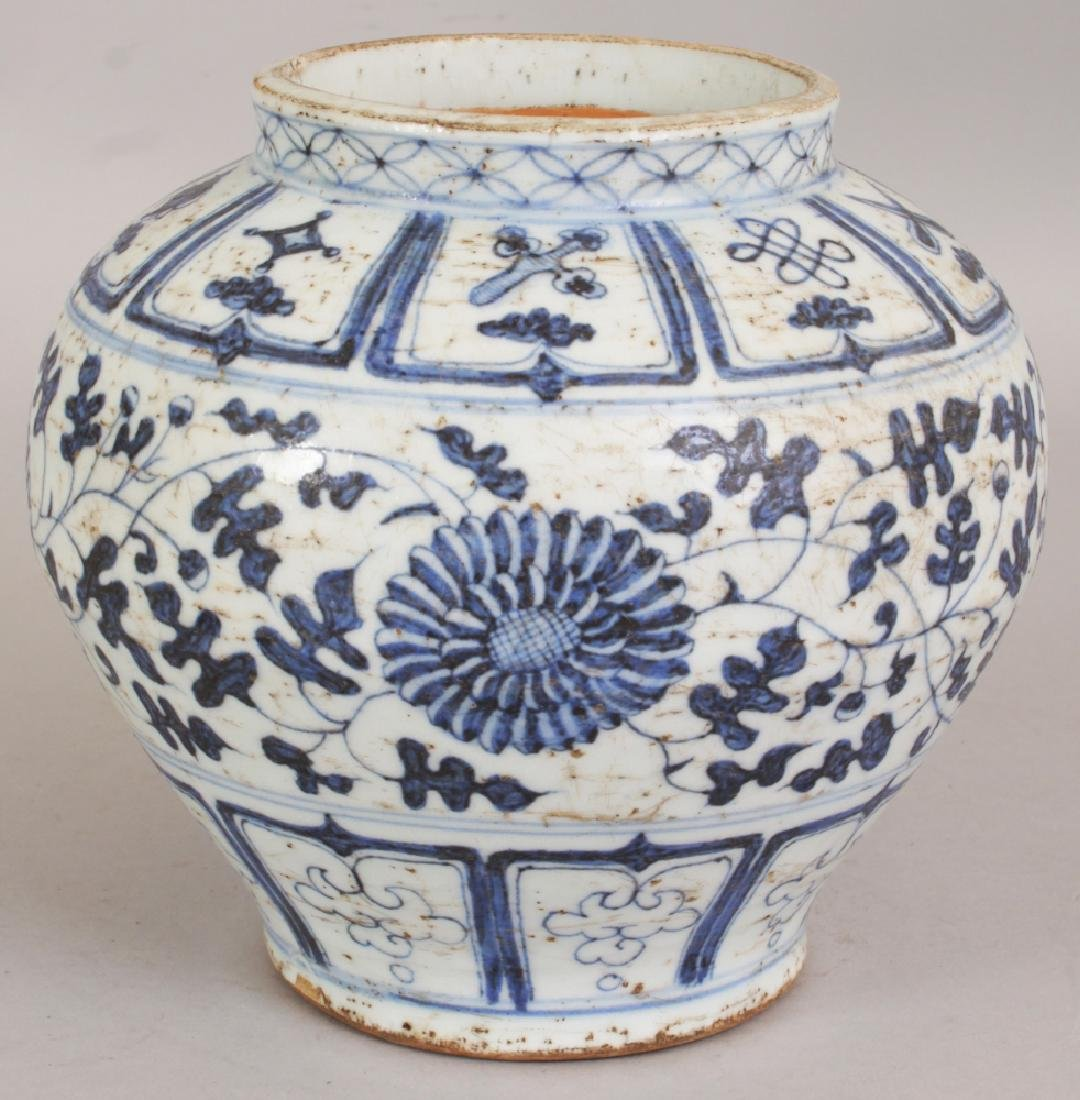 A CHINESE YUAN STYLE BLUE & WHITE PORCELAIN JAR, the