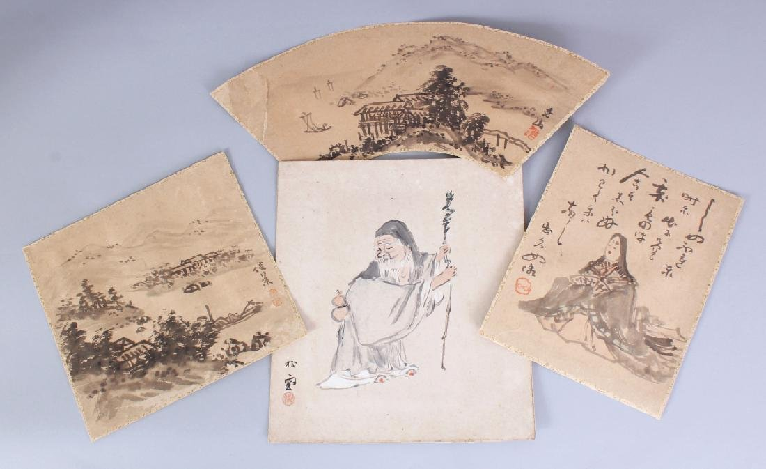 FOUR EARLY 20TH CENTURY JAPANESE PAINTINGS ON PAPER,