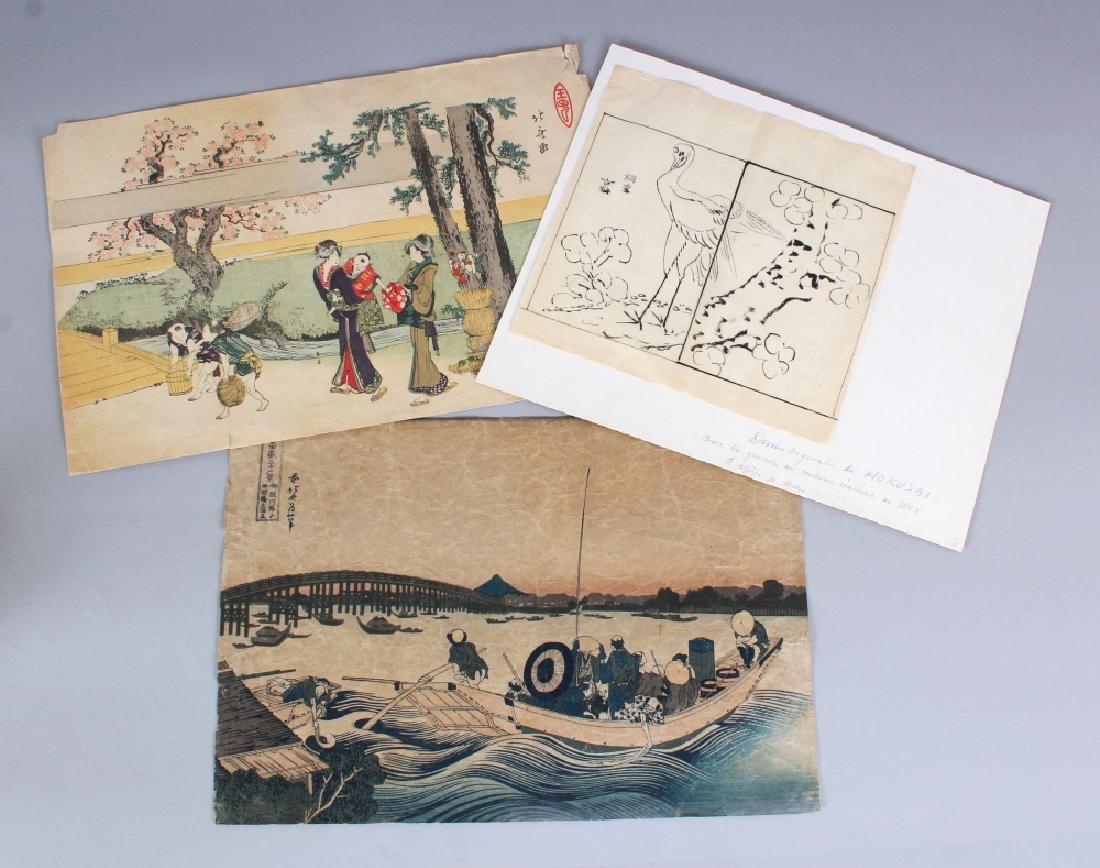 A GROUP OF THREE JAPANESE PRINTS, by or after Hokusai,