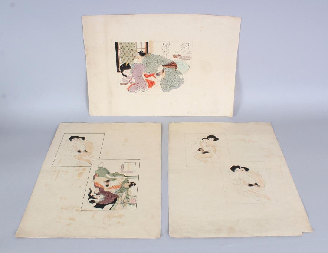 A GROUP OF THREE 19TH CENTURY JAPANESE EROTIC PAINTINGS