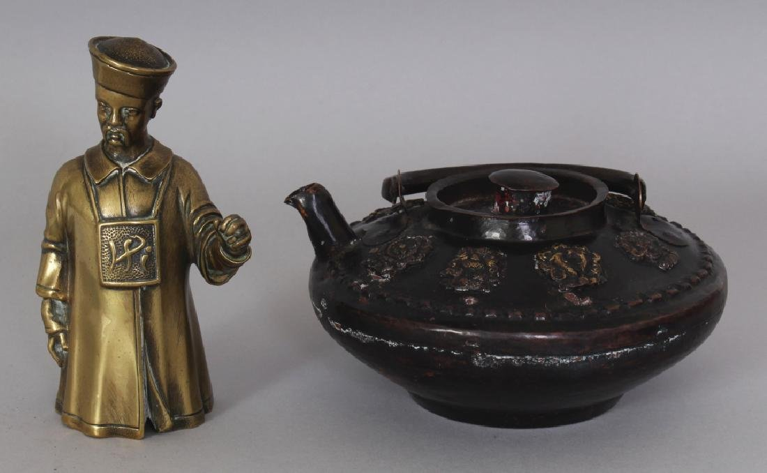 A TIBETAN BRONZED COPPER KETTLE & COVER, with swing