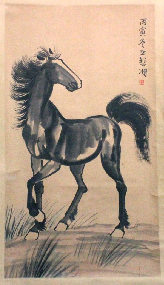 A SIGNED CHINESE HANGING SCROLL PICTURE, depicting a