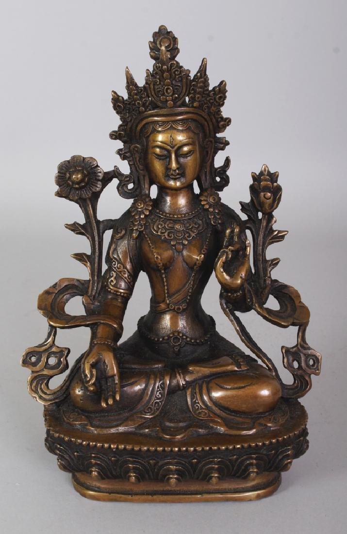A CHINESE BRONZE BUDDHA OF AMITAYUS BUDDHA, seated in
