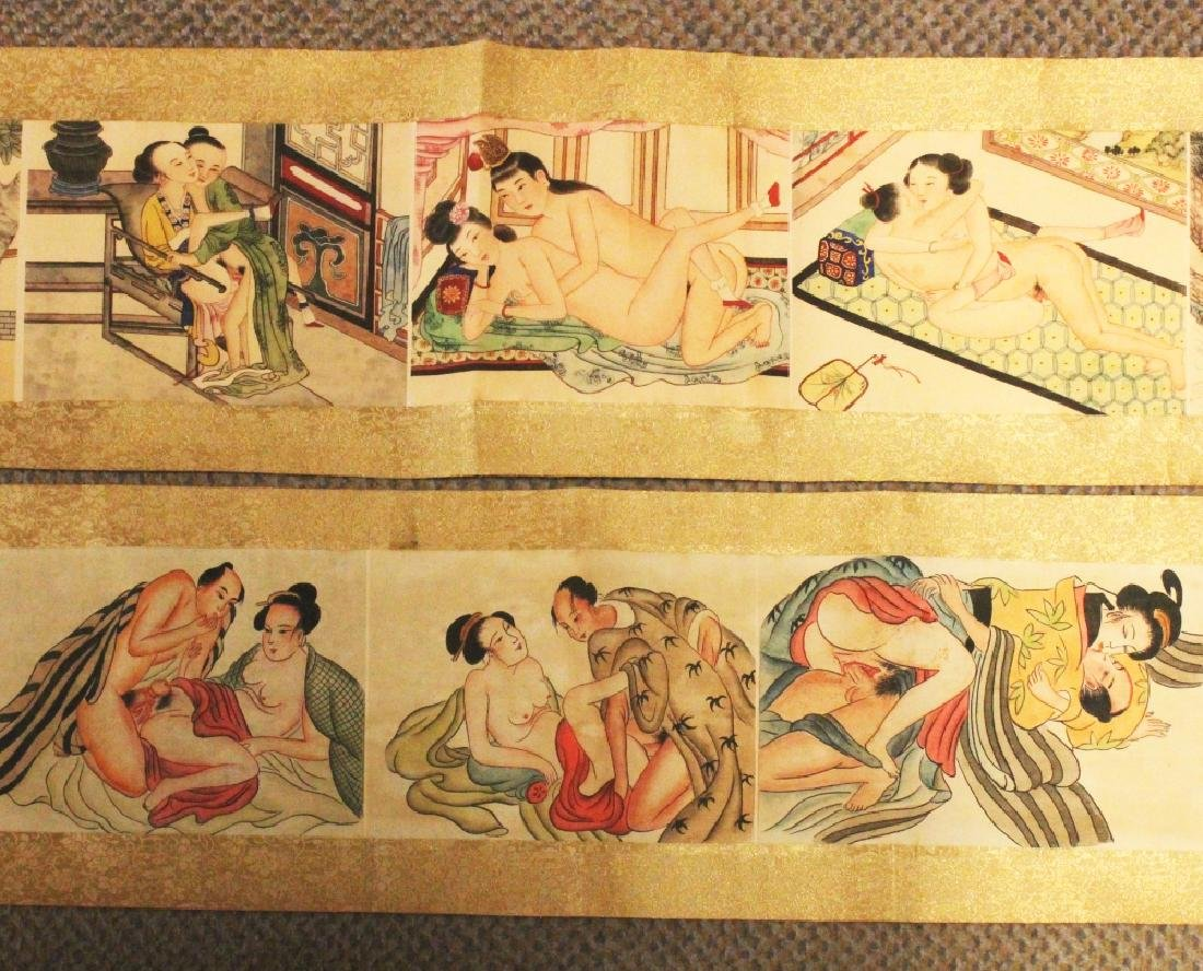 A PAIR OF WIDE CHINESE EROTIC SCROLL PICTURES ON SILK,