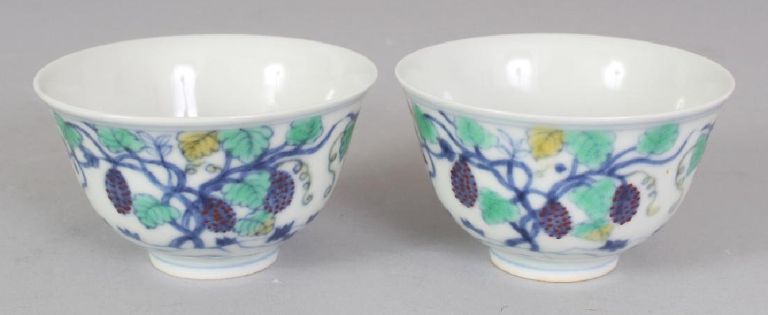 A PAIR OF CHINESE MING STYLE DOUCAI PORCELAIN VINE &