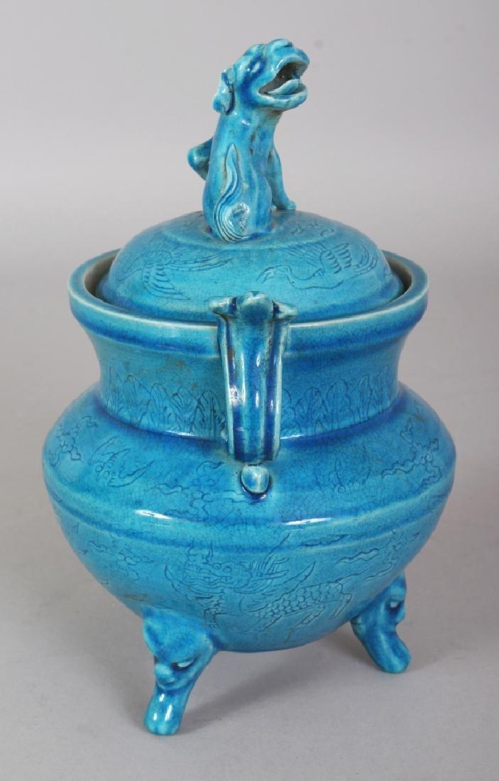 A CHINESE MING STYLE TURQUOISE GLAZED & UNDERGLAZE - 2