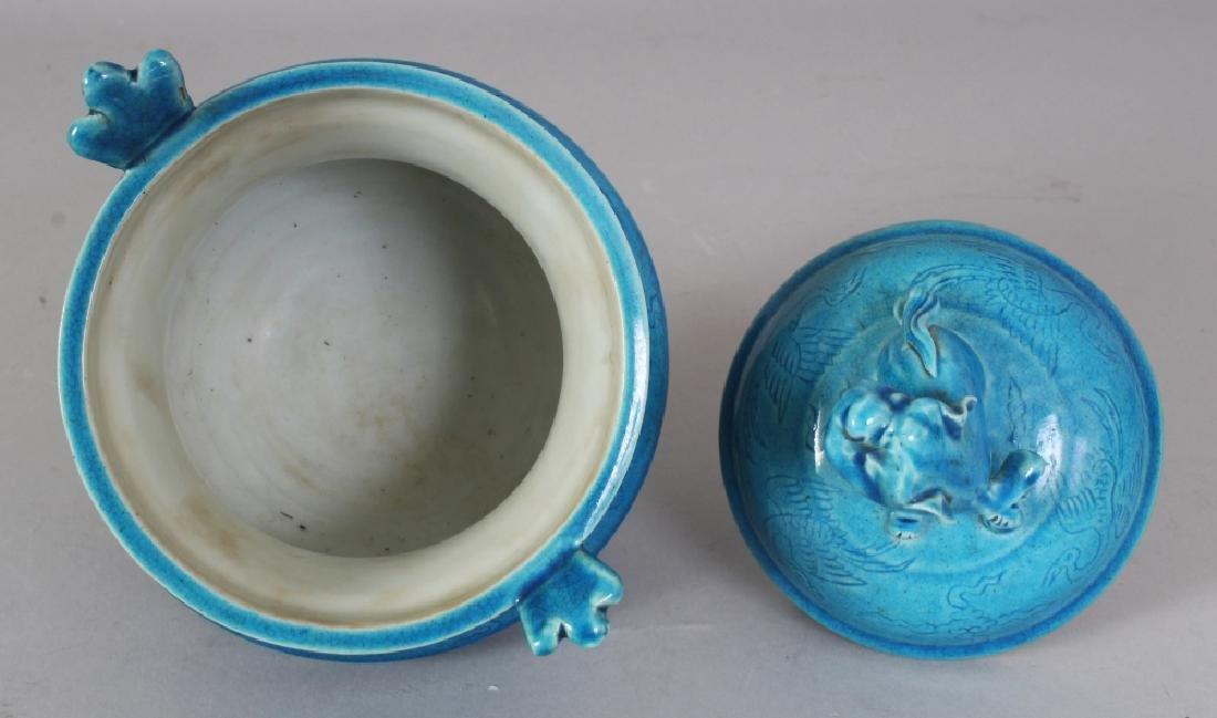 A CHINESE MING STYLE TURQUOISE GLAZED & UNDERGLAZE - 8