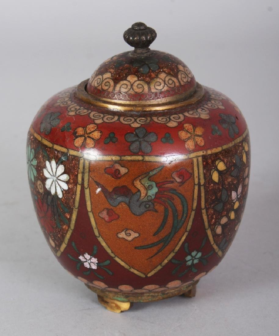 A SMALL JAPANESE MEIJI PERIOD CLOISONNE JAR & COVER,