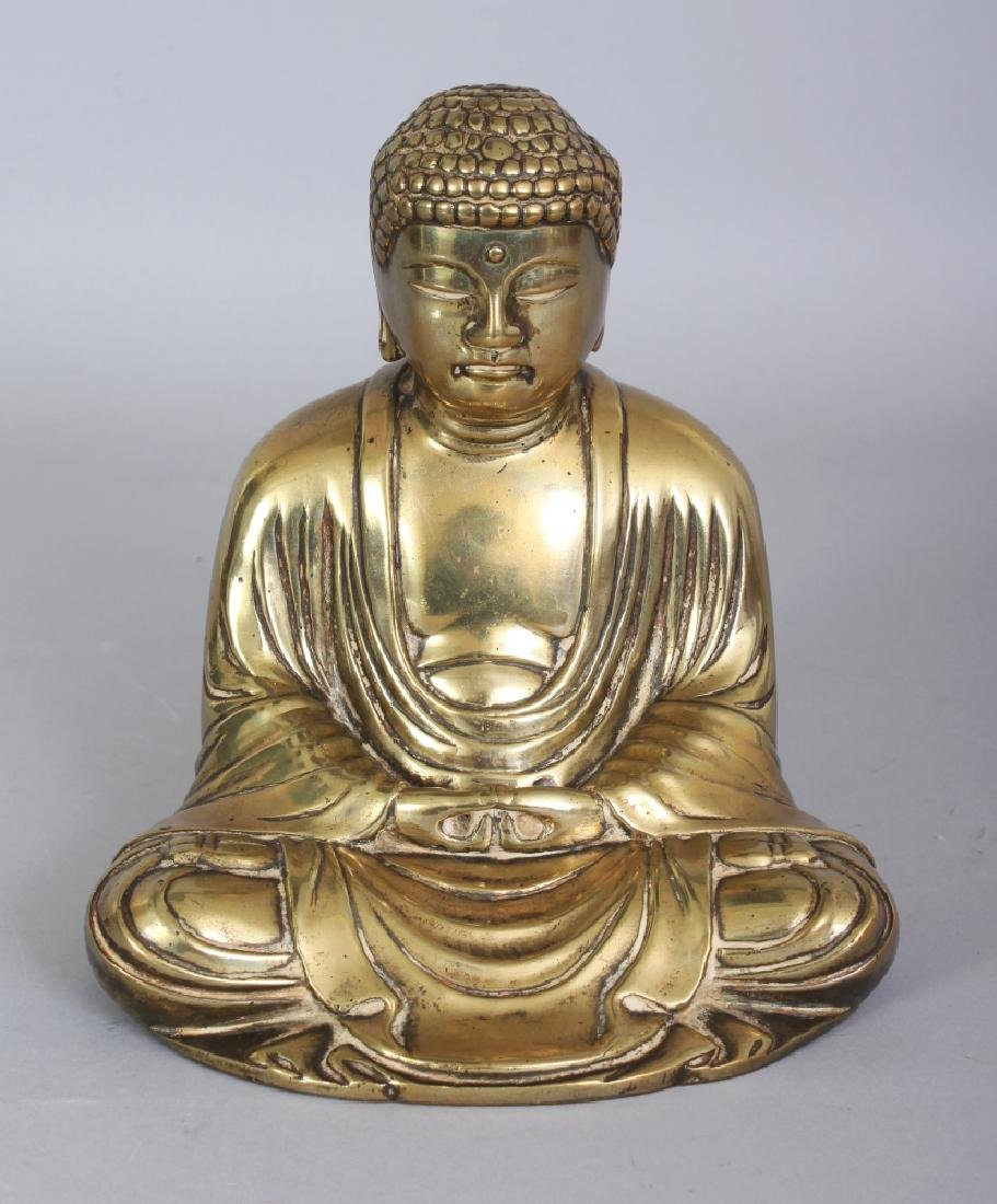 A JAPANESE POLISHED BRONZE FIGURE OF BUDDHA, seated in