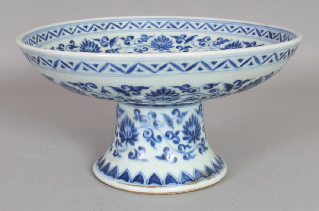 A CHINESE MING STYLE BLUE & WHITE PORCELAIN STEM BOWL, - 2