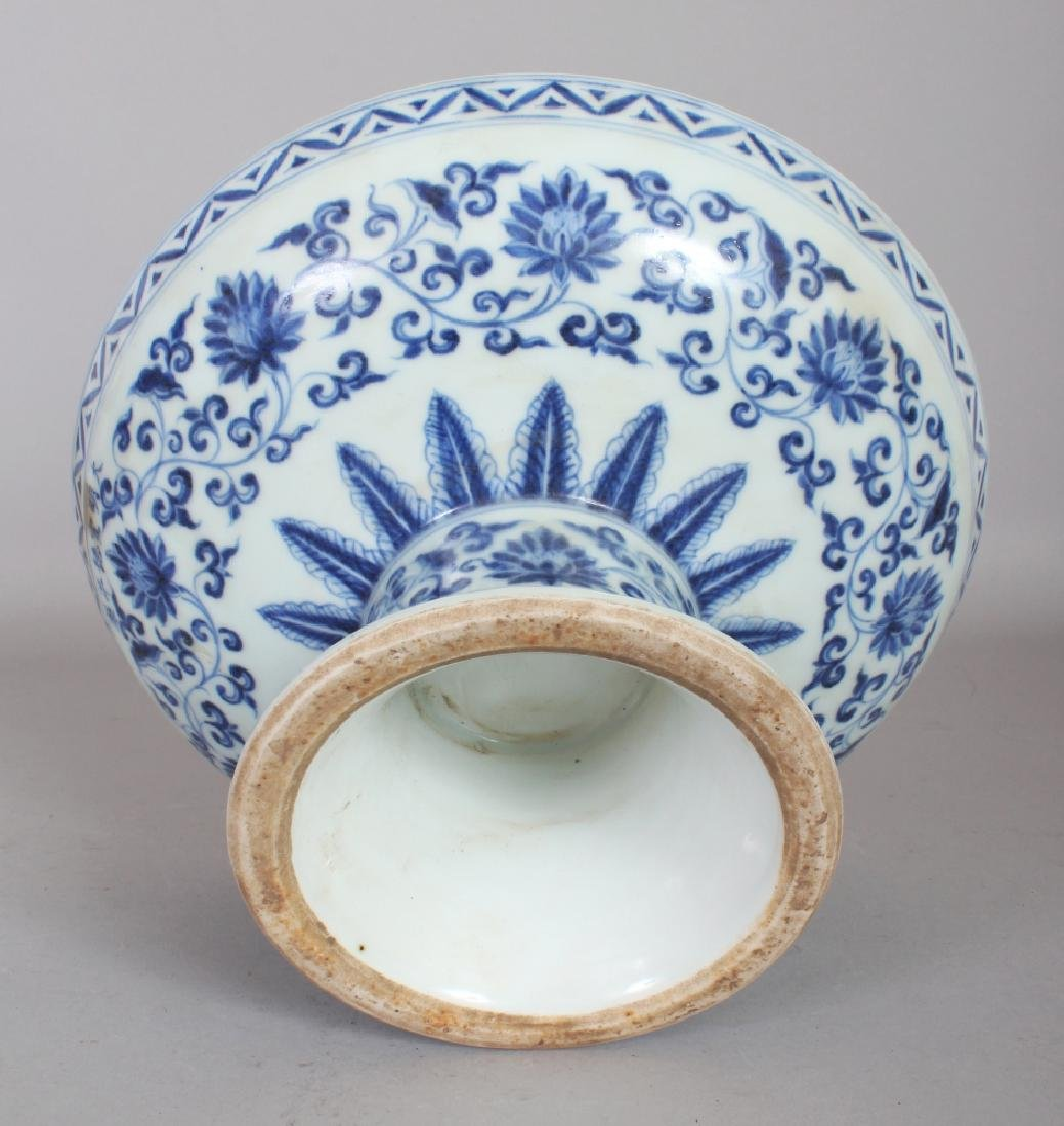 A CHINESE MING STYLE BLUE & WHITE PORCELAIN STEM BOWL, - 6