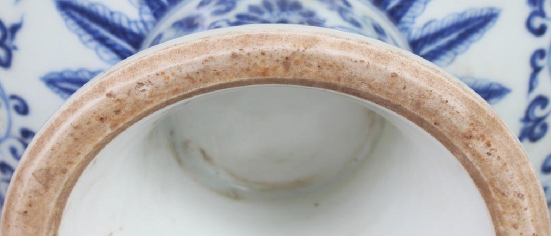 A CHINESE MING STYLE BLUE & WHITE PORCELAIN STEM BOWL, - 7