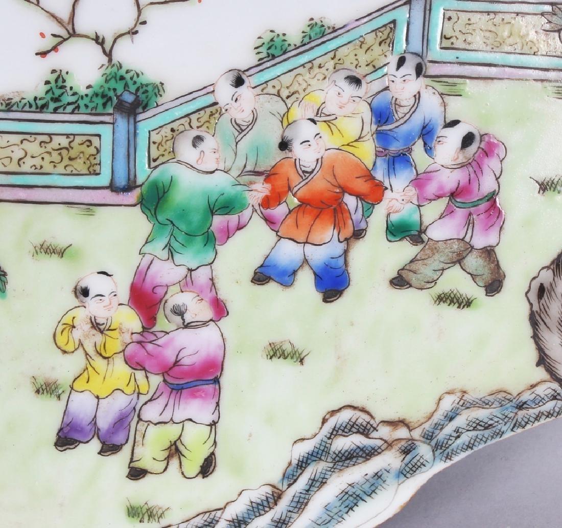 A CHINESE FAMILLE ROSE QUATREFOIL PORCELAIN BOYS - 2