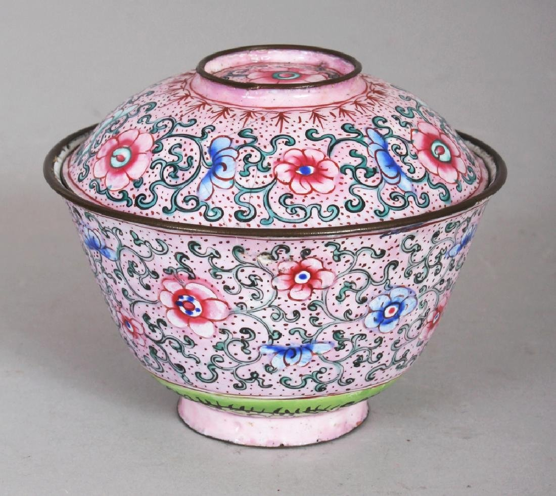 A 19TH CENTURY CHINESE PINK GROUND CANTON ENAMEL